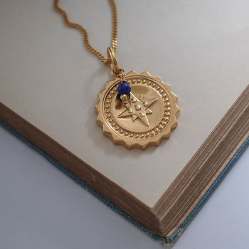 Large Compass With Lapis Necklace In Silver Or Gold