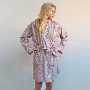 Cotton Short Kimono In Dusky Pink Swallow Print - bath robes