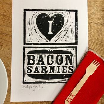 A Personalised Print For The Bacon Buttie Lover