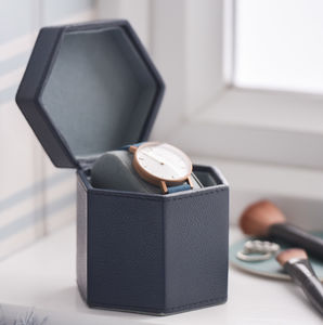 Ladies Leather Watch Box Hexagonal Blue - sale