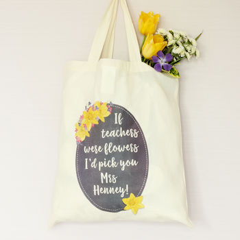 Spring Flower Personalised Teacher's Tote Bag