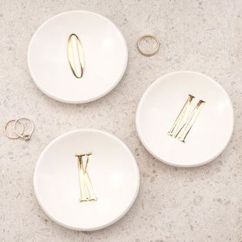 Personalised Gold Letter Ring Dish