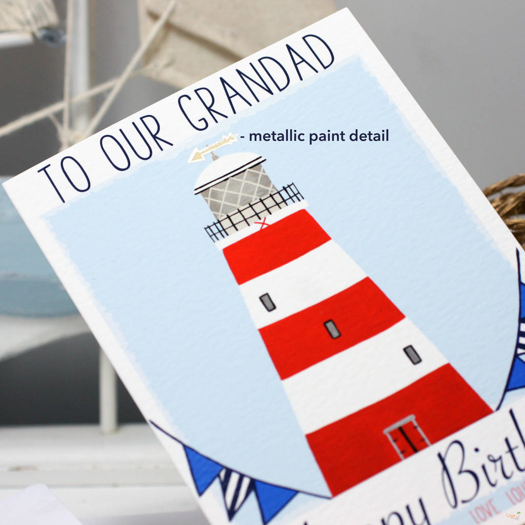 personalised lighthouse family birthday card by liza j design ...