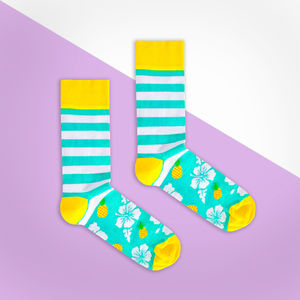 Turquoise Pineapple Stripe Sock - women's fashion
