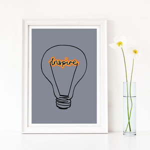 Gift For A Teacher, 'Inspire' Lightbulb Art Print