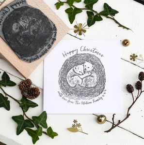 Christmas Card Stamp With Bear Cubs