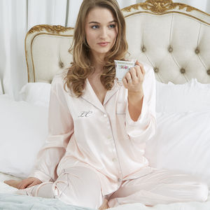Personalised Pink Silky Satin Pyjamas - wedding fashion