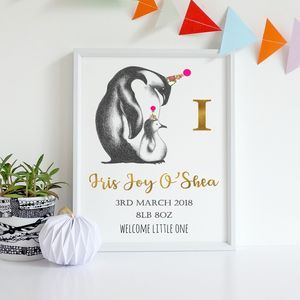 Personalised New Baby Birth Date Penguin Print
