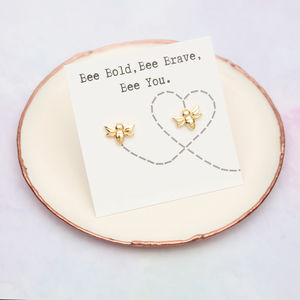 Bee Brave Stud Earrings In 18ct Gold Or Silver