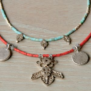 Coral And Silver Coin Necklace