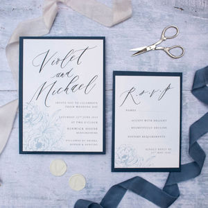Refined Blue Floral Wedding Invitation