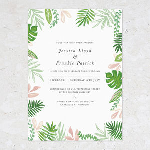 Greenery Wedding Invites, Border Motif - greenery