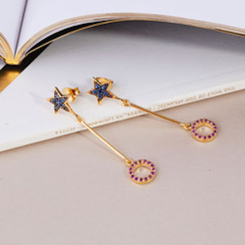 Star Earrings With Gemstone Wheel