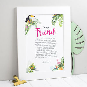 Personalised Friend Poem Print - shop by subject