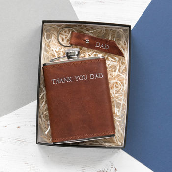 Personalised Leather Hip Flask And Keyring Gift Set