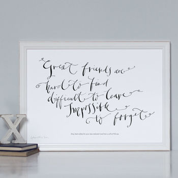 Personalised Art Print 'Great Friends Are Hard To Find'