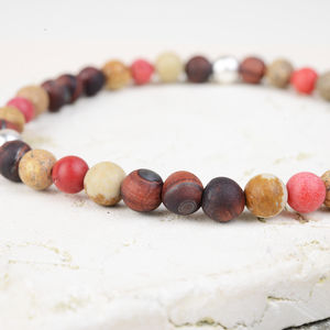 Semi Precious And Sterling Silver Bead Bracelet