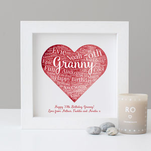 Personalised Watercolour 70th Birthday Gift - family & home