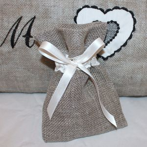 Burlap And Lace Wedding Favour Bag