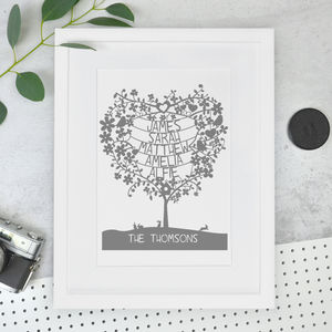 Personalised Heart Tree Papercut - gifts for her sale