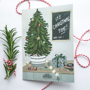 'It's Christmas Time' Hand Illustrated Greeting Card - christmas cards