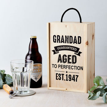 Personalised Vintage Age Wooden Beer Gift Box
