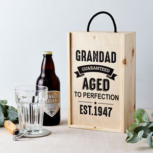 Personalised Vintage Age Wooden Beer Gift Box - 70th birthday gifts