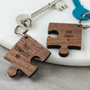 Personalised Wooden Gift Missing Piece Jigsaw Keyring