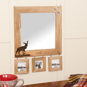 Wooden Wall Mirror With Deer Detail And Photo Frames - home accessories