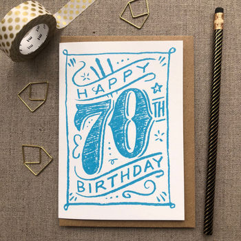 70th Birthday 70th Card Blue Chalk