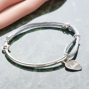 Personalised Silk And Sterling Silver Charm Bangle - 21st birthday gifts
