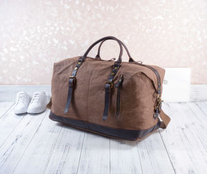 Waxed Canvas Classic Travel Holdall Bag