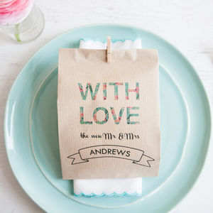 10 Floral 'With Love' Paper Goodie Bags - wedding favours