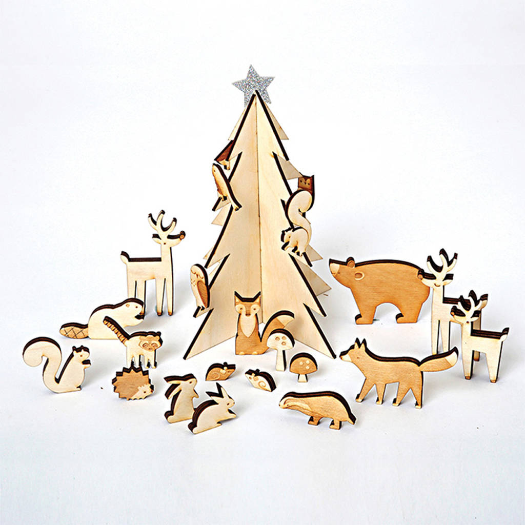 Woodland Scene Wooden Advent Calendar