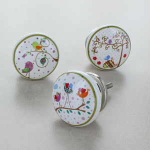Birds Garden Ceramic Door Knobs - home accessories