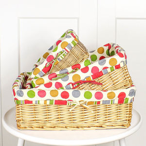 Rattan Multi Polka Dot Lined Storage Baskets - bedroom