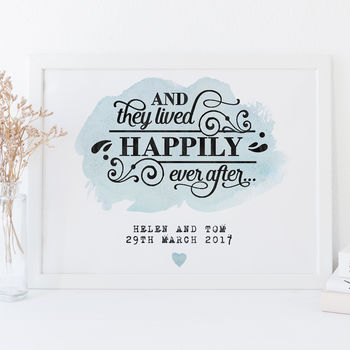 Personalised Watercolour Style Wedding Print