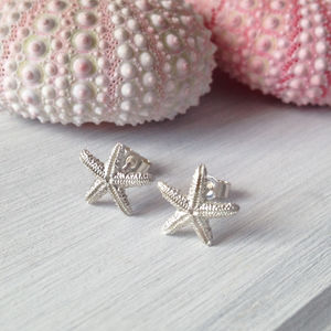 Silver Starfish Studs - earrings