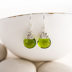 Peridot Quartz Drop Earrings - earrings