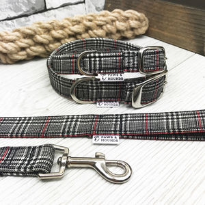 Black And Red Check Dog Collars And Leads - dogs
