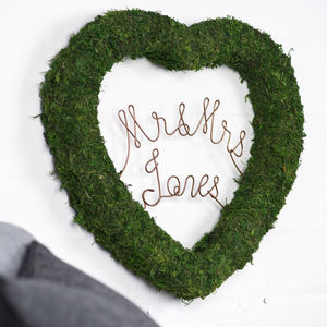 Personalised Moss Heart - wreaths