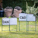 Personalised Grey Metal Standing Planter