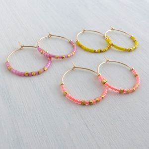 Medium Fair Trade And Neon Delica Beads Hoop Earrings