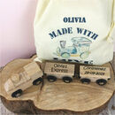 Personalised Wooden Train And Gift Bag
