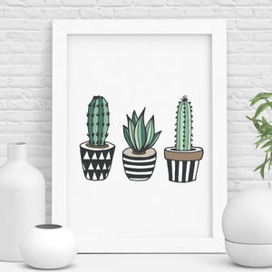 Cactus Print Illustrated Set - drawings & illustrations