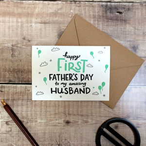 Happy First Father's Day Husband Letterpress Card - father's day cards
