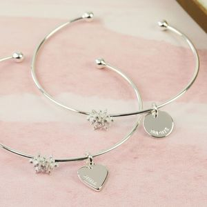 Personalised Silver Crystal Snowflake Bangle - jewellery sale