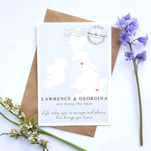 Map Wedding Postcard Save The Date - wedding stationery