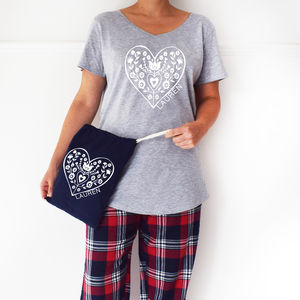 Personalised Nordic Heart Ladies Pyjamas Set