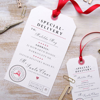 Personalised Christmas Sack Tag In Extra Large Or Small